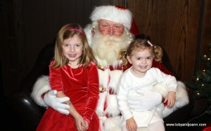 Charlotte and Lucy with Santa