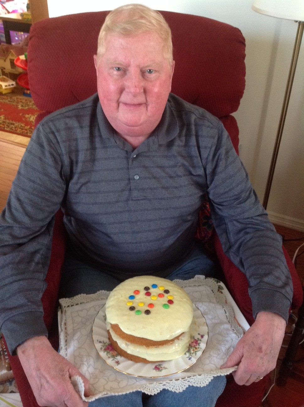 Noel on his recent Birthday enjoying his cake...