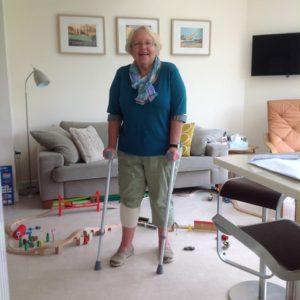 Meryl on crutches